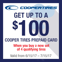 Buy a set of four (4) qualifying Cooper tires and get up to $100 Cooper Tires Visa Prepaid Card via mail-in rebate.
