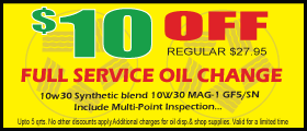 Oil Change $10OFF