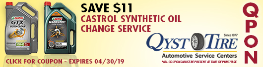 Qyst Tire Castrol Synthetic Oil Change Coupon