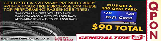 Qyst Tire General Tire $70 VISA Prepaid Card