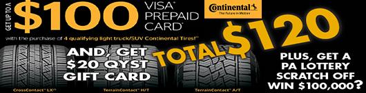 Continental Tire Light Truck Tires $100 VISA Card