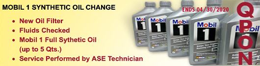 Qyst Tire MOBIL 1 SYTHETIC OIL CHANGE SALE