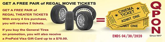 Qyst Tire FREE REGAL THEATER MOVIE TICKETS