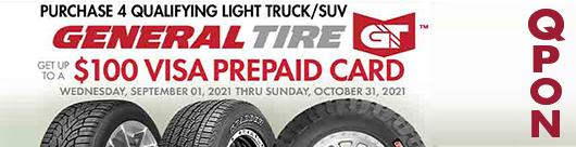 $100 General Tire Light Truck SUV Promo