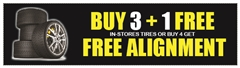 BUY 3+1 OR FREE ALIGNMENT