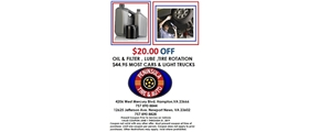 $20 off oil & filter, lube, tire rotation