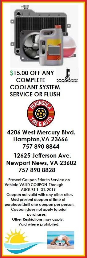 $15 off any complete coolant system service or flush