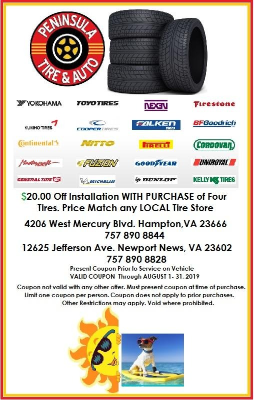$20 off installation with purchase of 4 tires.