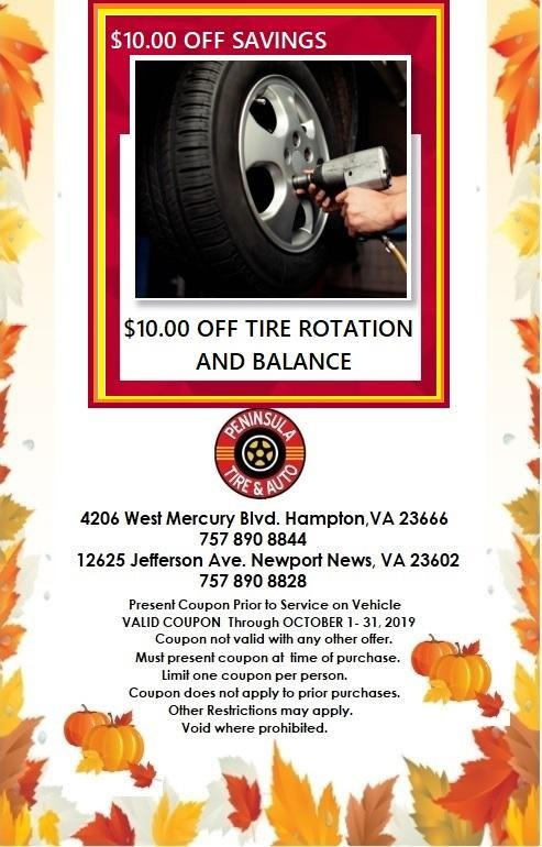 $10.00 Off Tire Rotation and Balance