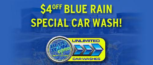 $4 off Blue Rain special car wash