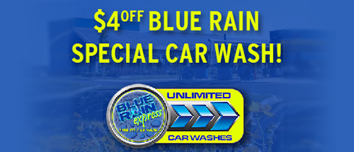 $4 off Blue Rain special car wash