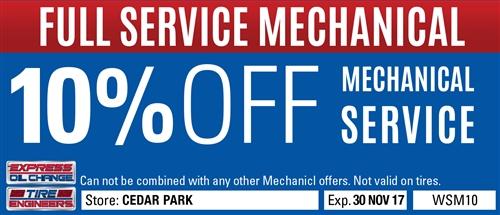 10% off mechanical service