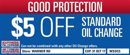 $5 Off Standard Oil Change