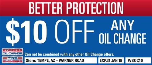 $10 off any oil change - Tempe, AZ - Warner Road - Expressoil
