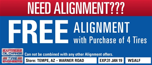 Free alignment with purchase of 4 tires - Tempe, AZ - Warner Road - Expressoil