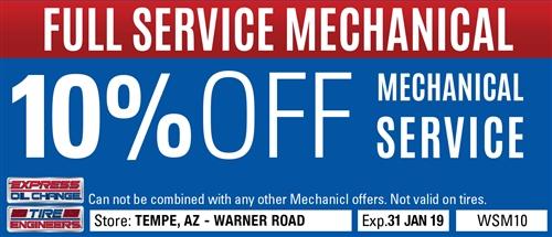 10% off mechanical service - Tempe, AZ - Warner Road - Expressoil