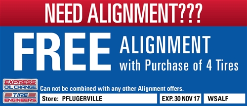 Free Alignment with purchase of 3 tires