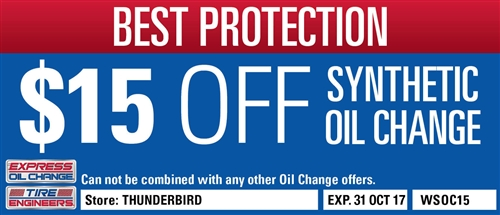 $15 Off Full Synthetic Oil Change