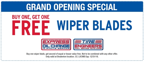 GRAND OPENING SPECIAL! Buy one, get one wiper blades
