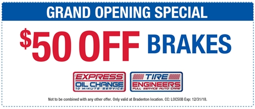 GRAND OPENING SPECIAL! $50 off brakes