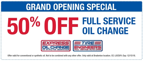 GRAND OPENING SPECIAL! 50% off full service oil change