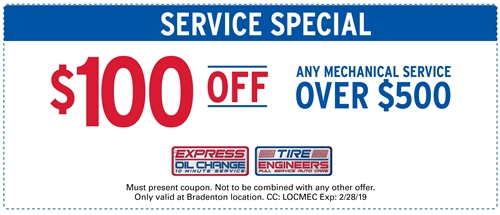 $100 off any mechanical service over $500