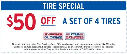 $50 off a set of 4 tires