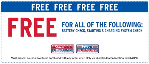 Free battery check, starting & charging system check
